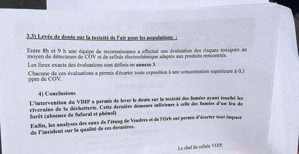 Les conclusions du VDIP, le labo high tech de la sécurité civile, sur les analyses réalisées dans l'air, dans l'étang et dans l'Orb.