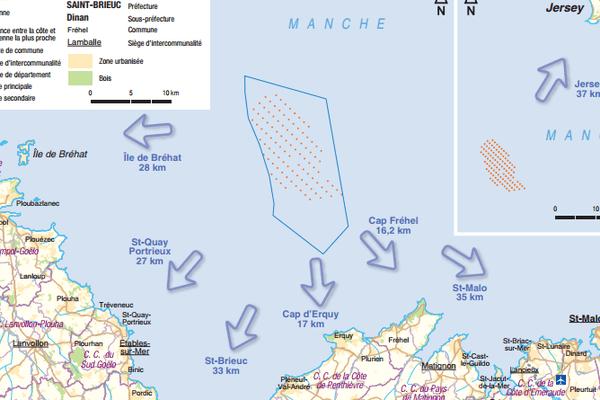 Carte du projet de parc éolien à Saint-Brieuc (22).