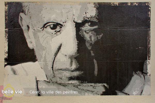 Pablo Picasso, peint par l'artiste Fas. Une oeuvre que l'on peut voir dans une des rues de Céret