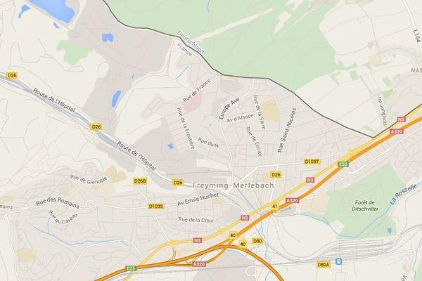Situation géographique de Freyming-Merlebach.