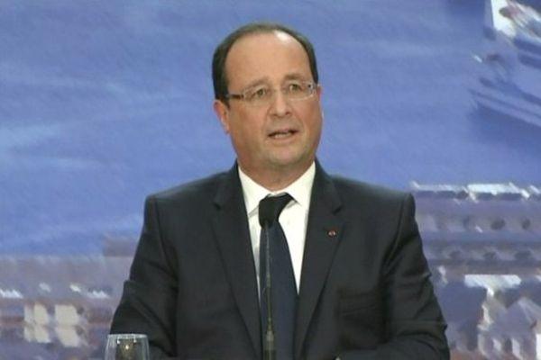 François Hollande à la Cité de la Mer ce lundi à Cherbourg