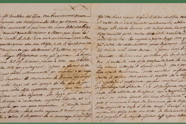 Une lettre écrite de la main de Pascal Paoli