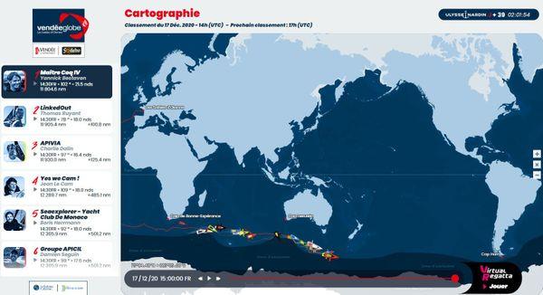Cartographie Vendée Globe classement du 17 Déc. 2020 - 14h