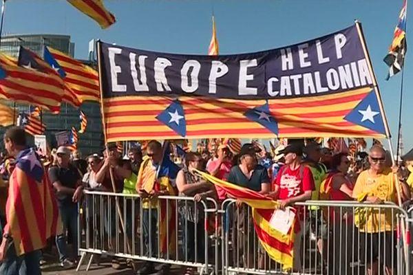 Manifestation de Catalans devant le Parlement européen à Strasbourg - 2 juillet 2019.