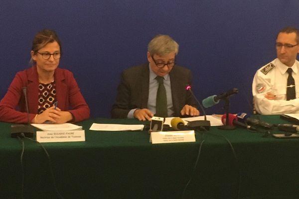 La rectrice, le préfet et le directeur de la sécurité publique