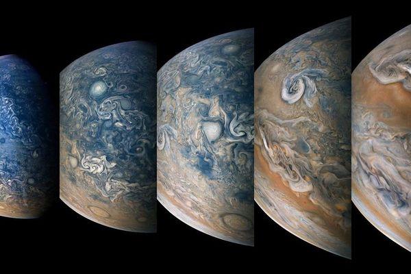 Un hyperaccéléré (en anglais timelapse) de la face nord de Jupiter.