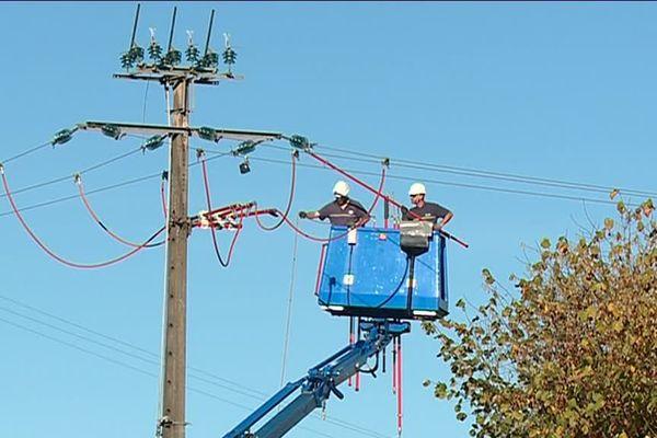 Pour protéger les cigognes, les techniciens d'Enedis installent des balises anti-avifaunes sur les transformateurs électriques à Saint-Brisson dans la Nièvre.