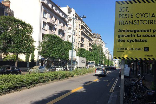 Une nouvelle piste cyclable aménagée sur le boulevard de la Liberté, à Rennes (35).