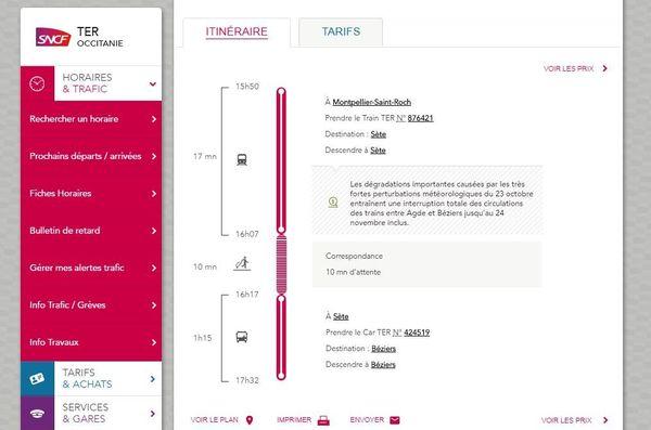 Pour se rendre à Béziers au départ de Montpellier, il vous faut prendre un TER jusqu'à Sète puis un car jusqu'à Béziers - novembre 2019