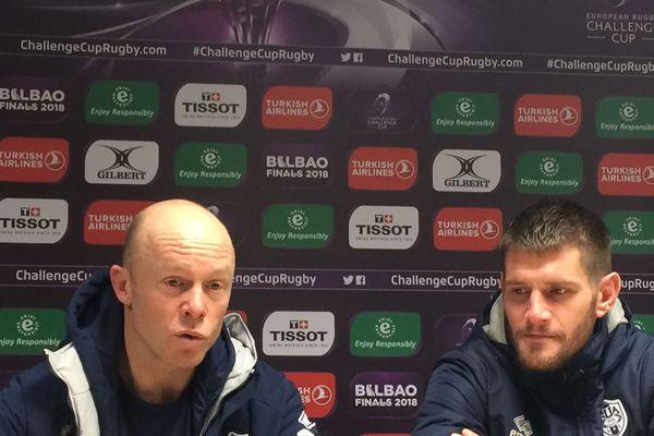 L'entraîneur Olivier Campan et l'arrière Florian Denos