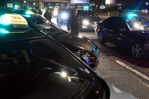 Les taxis toulousains lors de leur manifestation en janvier