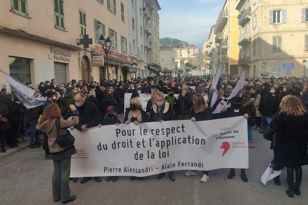 Près de 2.000 personnes réunies à Corte pour demander la levée du statut de DPS de Pierre Alessandri et Alain Ferrandi.