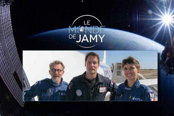 Jamy Gourmaud Thomas Pesquet et Églantine Éméyé