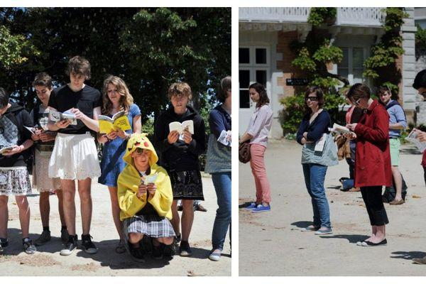 Les lycéens en jupe (ici à gauche) ont imité les militants radicaux contre le mariage pour tous (ici à droite).