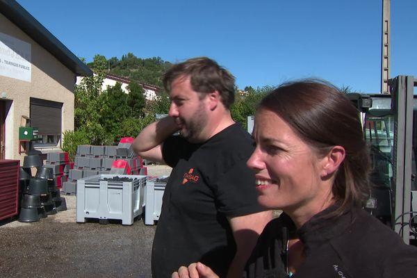 Julien et Nancy Cecillon sont de jeunes vignerons installés à Crozes Hermitage.