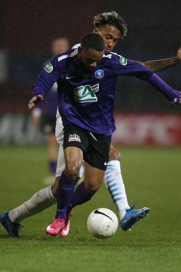 L'attaquant de Canet Yohan Bai, l'homme providentiel lors du match remporté contre Marseille, en 16e de coupe de France 2021.