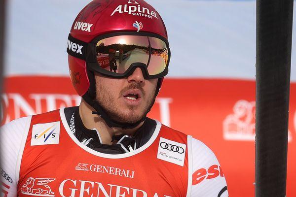 Nils Allegre à l'arrivée de son Super G le 6 février 2021 en Allemagne à Garmisch-Partenkirchen.