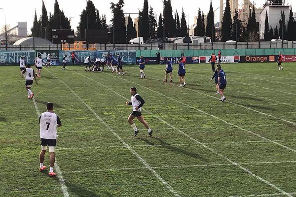 Le XV de France s'entraîne à Nice ce mercredi 22 janvier 2019.