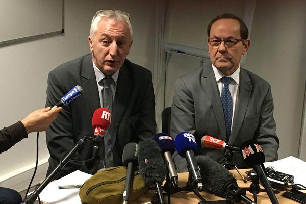 Eric Bouillard, le procureur d'Angers, et Christian Gillet, le président du conseil départemental du Maine-et-Loire, le 10 février 2020