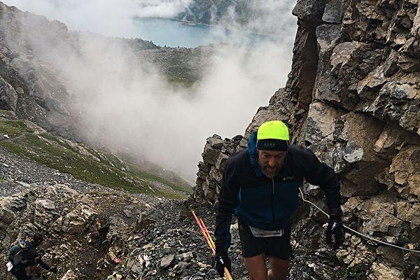 Les deux gardois Jean-Pierre Soler et Fred Gil lors de la course trail Swiss Peaks en Suisse en septembre 2018.