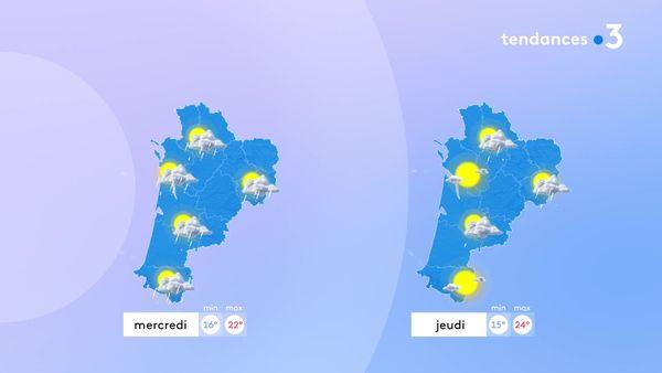 Le temps va s'améliorer à partir de mercredi avec des éclaircies, des averses moins fréquentes et une hausse des températures.