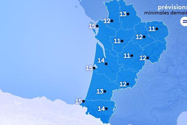 11° à Guéret, 13 à Poitiers, 14 à Bordeaux et 15 à Biarritz