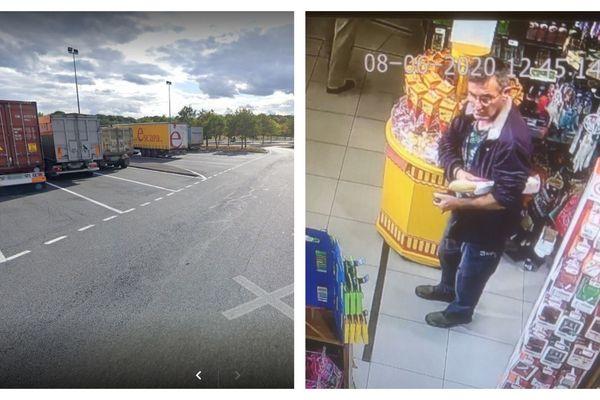 """Aire de repos """"Le jardin des arbres"""" à Varennes-Changy dans le Loiret et image de vidéo-surveillance du témoin recherché par les gendarmes"""