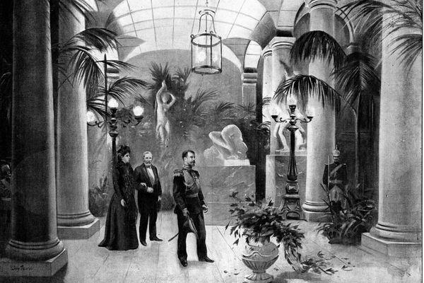 """Le Monde Illustré – L'arrivée à Compiègne – """"Nos hôtes et M. Loubet entrant dans le vestibule du Château"""" (Dessin de M. Léon Fauret)."""