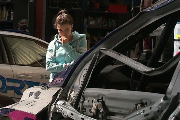 La Peugeot 308 TCR de Lilou Wadoux hors d'usage après son accident en Belgique.