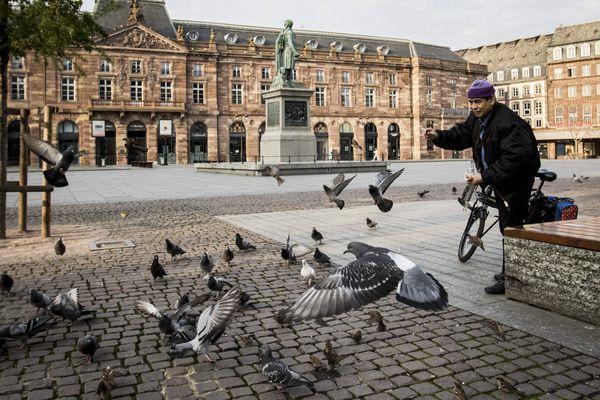 """La place Kléber, peuplée de pigeons, immortalisée par Elyxandro Cegarra le 20 mars 2020, trois jours après l'entrée en vigueur du confinement : """"à cette époque normalement, la ville est remplie de touristes""""."""