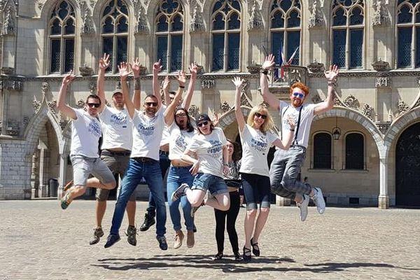 Des membres du collectif #Blogueurs des Hauts-de-France pendant le Maine Square Festival d'Arras en juillet dernier.