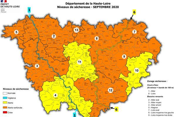 Voici les zones placées en alerte et en alerte renforcée par la préfecture de Haute-Loire en raison de la sécheresse.