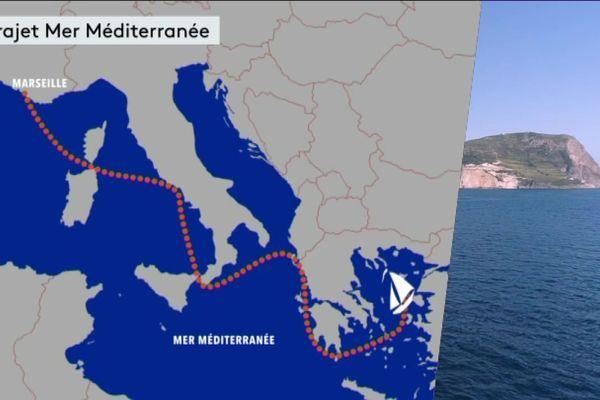 Tracé de l'itinéraire de Sylvain Tesson en Méditerranée.