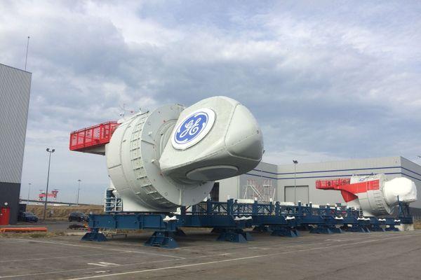 La première nacelle à sortir d'usine sur les 80 qui composent le futur parc éolien.