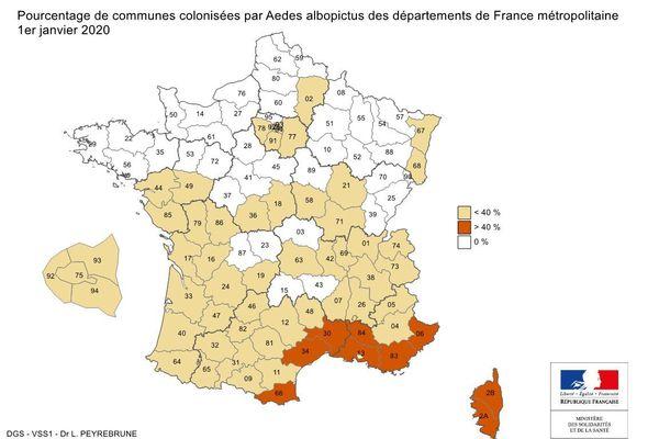 Présence du moustique tigre en France - juillet 2020