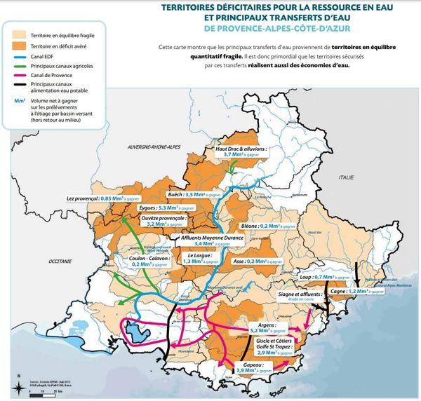 La ressource en eau est très inégalement répartie dans la région PACA