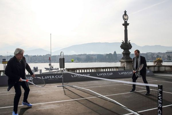 Swiss tennis champion Roger Federer (R) and Swedish tennis legend Bjorn Borg play tennis on February 8, 2019 in Geneva as they arrive for a press conference ahead of the Laver Cup tournament that will take place in Geneva on the week-end of the 20th of September