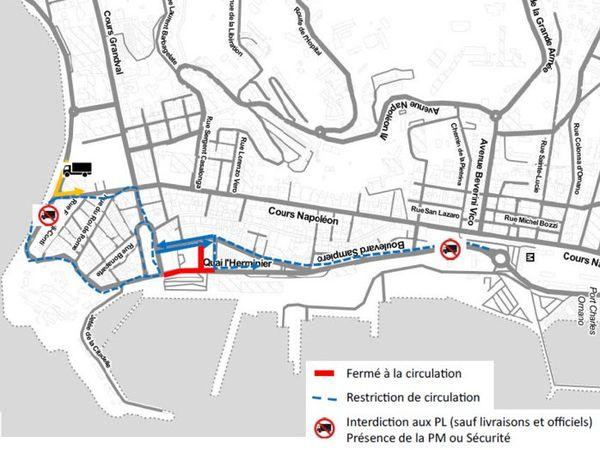 Les zones de circulation et de stationnement lors du 124ème congrès national des sapeurs-pompiers à Ajaccio