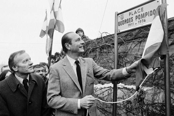 Jacques Chirac, maire de Paris, et Pierre Mazeaud, maire de Saint-Julien, inaugurent une place Georges Pompidou le 25 février 1984 à Saint-Julien-en-Genevois
