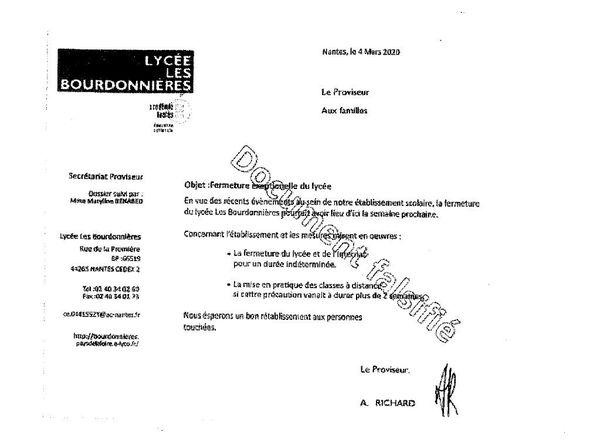 Non le lycée des Bourdonnières à Nantes n'est pas fermé pour cause de coronavirus