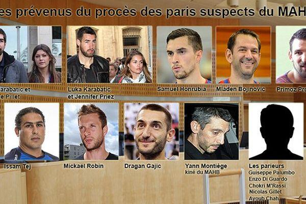 Les prévenus du procès des paris suspects du MAHB juin 2015