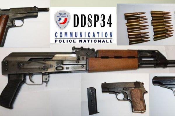 Montpellier - Des armes de guerre ont été saisies par la police. 5 octobre 2021.