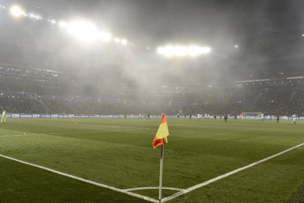 La pelouse du Parc Olympique Lyonnais lors du match OL-Séville, le 7 décembre
