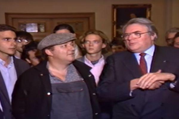 Coluche et Pierre Mauroy, alors maire de Lille en 1985