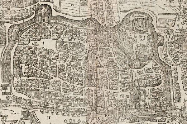Plan de la ville de Caen vers 1575-1580.