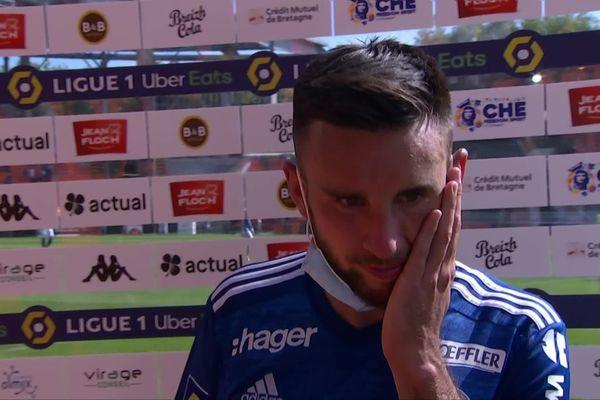 Adrien Thomasson, milieu offensif du Racing Club de Strasbourg (RCS), après la défaite de son équipe face au Football Club Lorient (FCL).