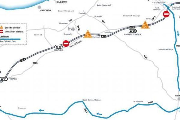 La déviation de l'A13 entre Pont-L'Évêque et Dozulé.