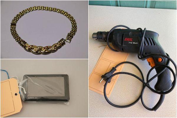 Parmi les objets retrouvés par les gendarmes du Gers, beaucoup d'outils de bricolage ou chantier, mais aussi des bijoux, du matériel divers, etc.