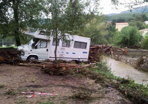 Lamalou-les-Bains (Hérault) - le camping sinistré en bordure du Bitoulet où 4 personnes sont mortes - 18 septembre 2014.