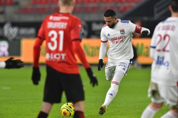 Rennes 09/01/2021 - Ligue 1 - Grâce à son capitaine, Memphis Depay, l'Olympique Lyonnais a arraché le match nul face au Stade Rennais, deux buts partout.